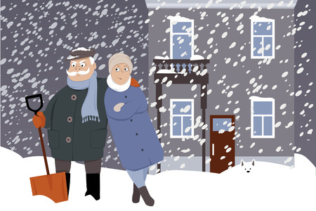 Upset senior couple with a snow shovel under the snow, winter city street on the background, EPS 8 vector illustration, no transparencies