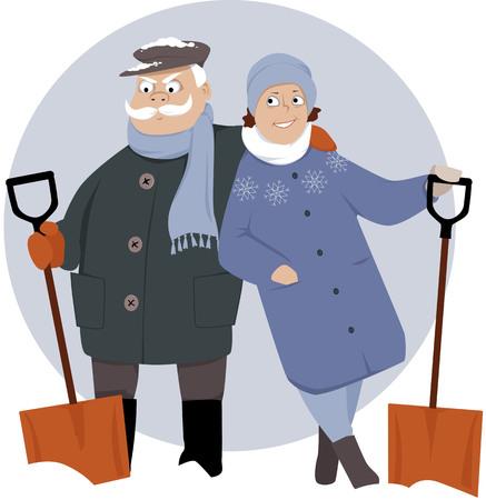 Happy retired couple shoveling snow, EPS 8 vector illustration