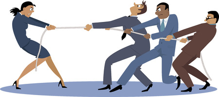 tug war: A businesswoman in tug of war with a group of male coworkers, EPS 8 vector illustration