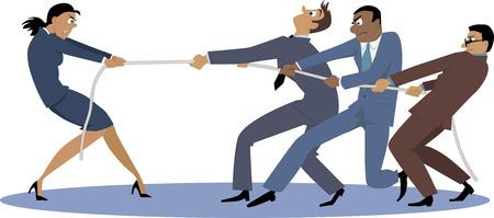 recursos humanos: Una empresaria en tira y afloja con un grupo de compañeros de trabajo masculinos, EPS 8 vector ilustración