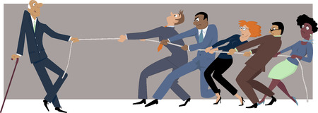 tug war: One elderly businessman easily winning a tug of war with a group of younger colleagues, EPS 8 vector illustration