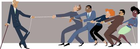recursos humanos: Un hombre de negocios ancianos fácilmente ganar un tira y afloja con un grupo de colegas más jóvenes, EPS 8 vector ilustración Vectores