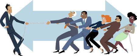 wojenne: Jedna osoba z łatwością wygrywając przeciąganie liny z grupą ludzi biznesu, EPS 8 ilustracji wektorowych Ilustracja