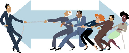 one people: One person easily winning a tug of war with a group of business people, EPS 8 vector illustration Illustration