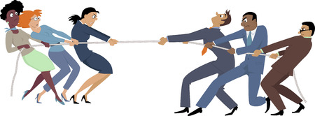 human gender: Businesswomen versus businessmen tug of war, EPS 8 vector illustration, no transparencies