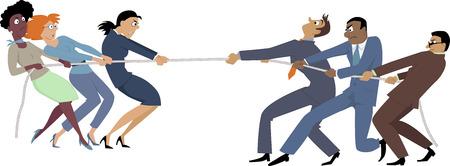 Zakenvrouwen versus zakenlieden touwtrekken, EPS 8 vector illustratie, geen transparanten
