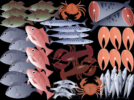 raw lobster: Fish and seafood background