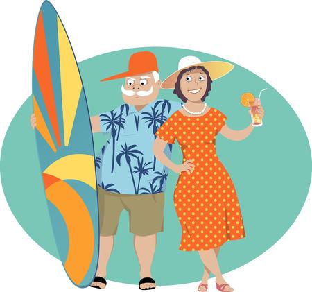 Felice coppia senior in piedi con una tavola da surf e un cocktail, illustrazione vettoriale Vettoriali