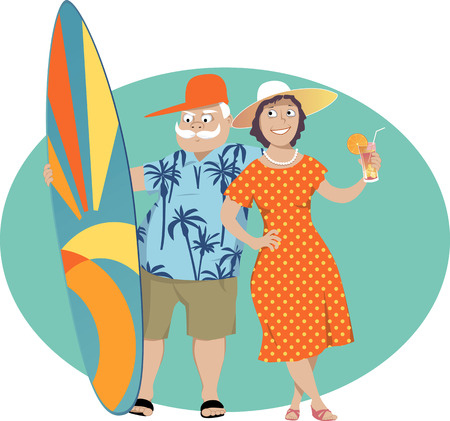 Happy senior couple standing with a surf board and a cocktail, vector illustration Illusztráció