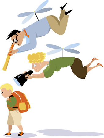 Helicopter parents hovering over a child with a telescope and a binoculars