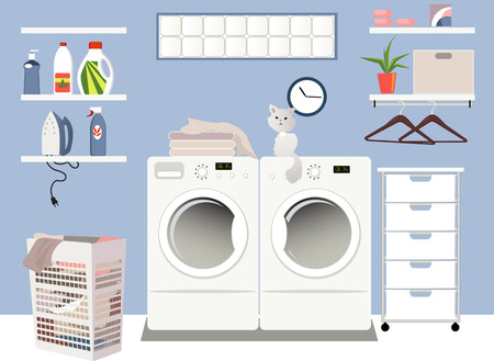 Interior of a laundry room in a family home Illustration
