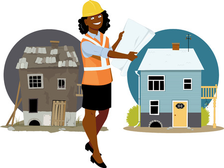 Young black woman in a protective gear showing a blueprints standing in front of a house before and after renovation