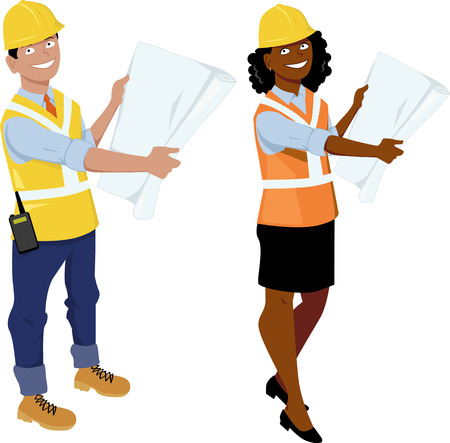 Male and female architect or engineer characters, wearing hard hats and reflective vests, showing blueprints