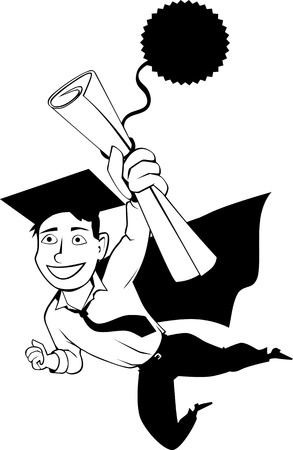 achievement clip art: Happy cartoon man in a graduation cap and a cape flying in a superhero pose, holding a diploma in his hand