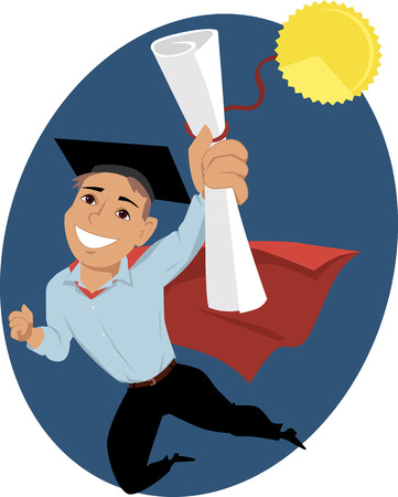 Happy cartoon man in a graduation cap and a cape flying in a superhero pose, holding a diploma in his hand