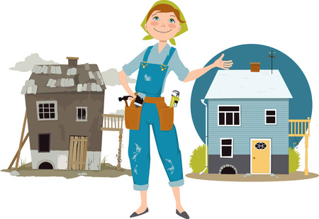 Happy cartoon woman in overalls with tools standing in front of a house shown before and after renovation Illustration