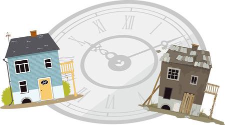 Una casa quando era nuovo e quando è diventato vecchio e fatiscente mostrato di fronte a un orologio, che simboleggia il tempo che passa Archivio Fotografico - 48346653