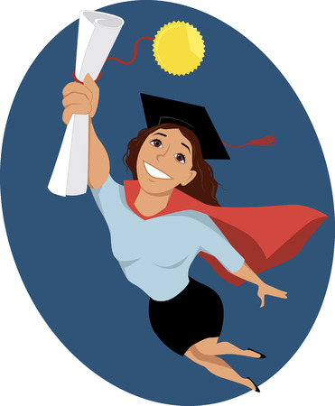 college girl: Happy cartoon woman in a graduation cap and a cape flying in a superhero pose, holding a diploma in her hand