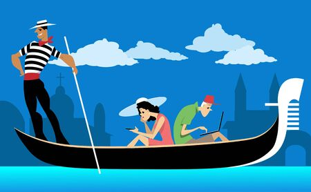 ignoring: Couple of tourists riding a Venetian gondola, staring at their wifi gadgets, ignoring the scenery, EPS 8 vector illustration, no transparencies