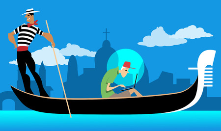 Tourist working on his laptop while riding a gondola in Venice, EPS 8 vector illustration, no transparencies