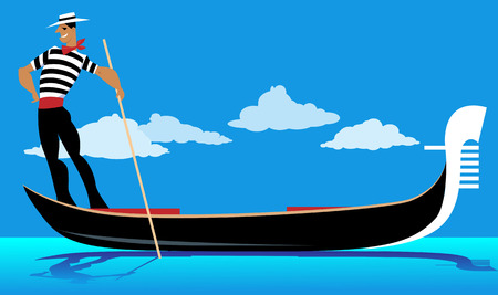 gondolier: Cartoon gondolier rowing a gondola, EPS 8 vector illustration, no transparencies