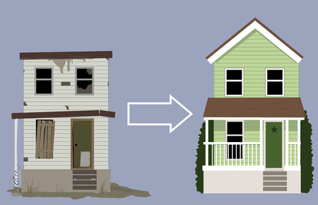 renovation property: Old, rundown house turned into a nice new home, EPS 8 vector illustration