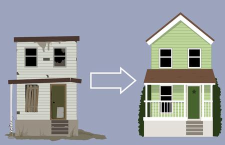Oud, vervallen huis veranderd in een mooi nieuw huis, EPS 8 vector illustratie Stock Illustratie