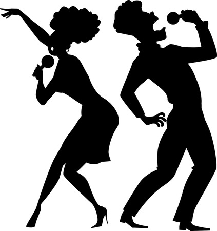 girls night out: Black vector silhouette of a cartoon couple singing