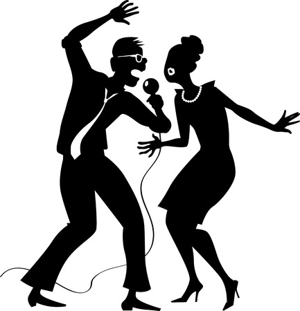 girls night out: Black EPS 8 vector silhouette of a cartoon couple singing, no white objects