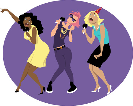 Three young funny woman singing karaoke at a party or in a bar,  vector illustration