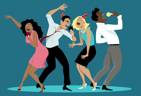 Diverse group of friends singing karaoke at a party,  vector cartoon, no transparencies