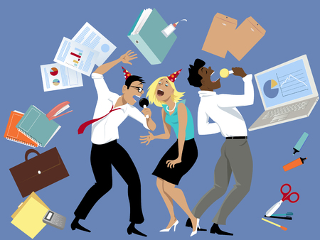 Three coworkers singing karaoke at the office party, surrounded by office tools and supplies,vector illustration Stock Illustratie