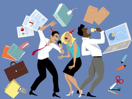 cantando: Tres compañeros de trabajo cantando karaoke en la fiesta de la oficina, rodeado de herramientas y suministros de oficina, ilustración del vector