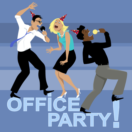 party cartoon: Office party with three coworkers singing karaoke,  vector illustration, no transparencies