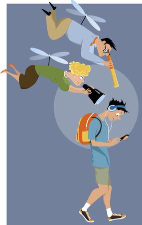 Вертолет родители нависают над их сына-подростка с телескопом и биноклем, EPS 8 векторных иллюстраций
