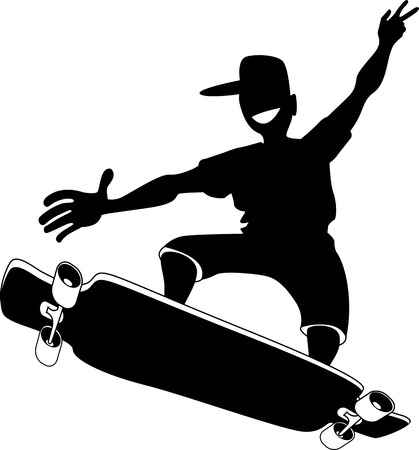 male teenager: Black vector silhouette of a male teenager riding a longboard, EPS 8