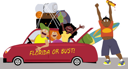 teenagers group: Group of college friends heading to Florida for a spring break in a car, EPS 8 vector illustration