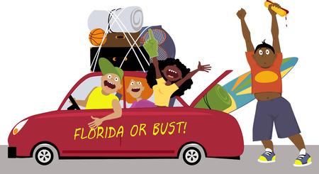 ? group: Grupo de amigos de la universidad que se dirigían a la Florida para unas vacaciones de primavera en un coche, EPS 8 vector ilustración