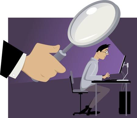 Reusachtige hand met een vergrootglas getoond achter de rug van een man, die aan zijn computer, EPS 8 vector illustratie, geen transparanten