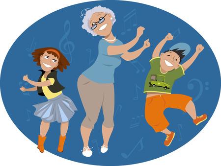Eine ältere Frau, die tanzen mit zwei Enkelkinder auf einem ovalen Hintergrund mit Musiknoten, EPS 8 Vektor-Illustration