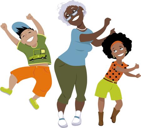 diversidad: Mayor mujer negro bailando con un niño pequeño y una niña, EPS 8 ilustración vectorial, sin transparencias, aislado en blanco