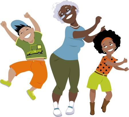 latina: Senior black woman dancing with a little boy and a girl, EPS 8 vector illustration, no transparencies, isolated on white