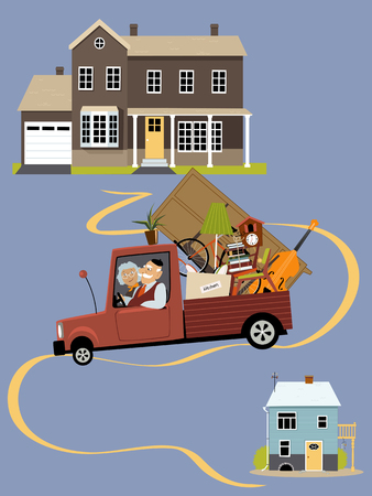 downsize: Senior couple moving their belongings from a big family house into a smaller home, EPS 8 vector illustration