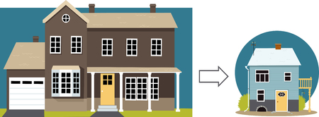 Downsizing. From a big family home to a small retirement cottage, EPS 8 vector illustration