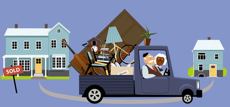 people moving: Senior couple moving their belongings from a big family house into a smaller home, EPS 8 vector illustration