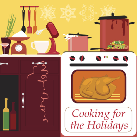 Cooking for the holidays, kitchen in the middle of a holiday cooking, EPS 8 vector illustration