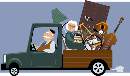 belongings: Senior couple in a pick-up truck moving their belongings, EPS 8 vector illustration, no transparencies Illustration