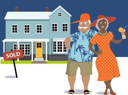 Senior couple standing in front of a house marked sold, EPS 8 vector illustration, no transparences 矢量图像
