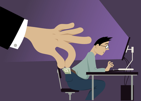 A huge hand attempting to steal money from a man's pocket, EPS 8 vector illustration, notransparencies