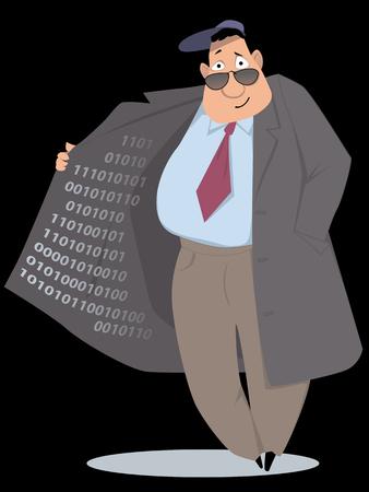 Black market vendor selling information in binary code, EPS 8 vector illustration, no trasparencies Illusztráció
